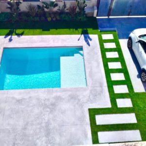 Final de obra construcción de jardin con piscina en Tarragona
